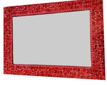 Red Wall Mirror / Glass Mosaic Mirror