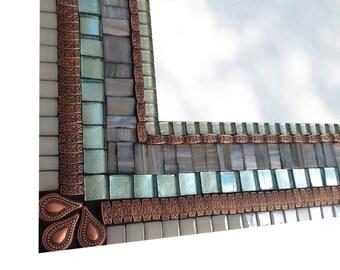 Gray Copper and Aqua Mixed Media Mosaic Wall Mirror