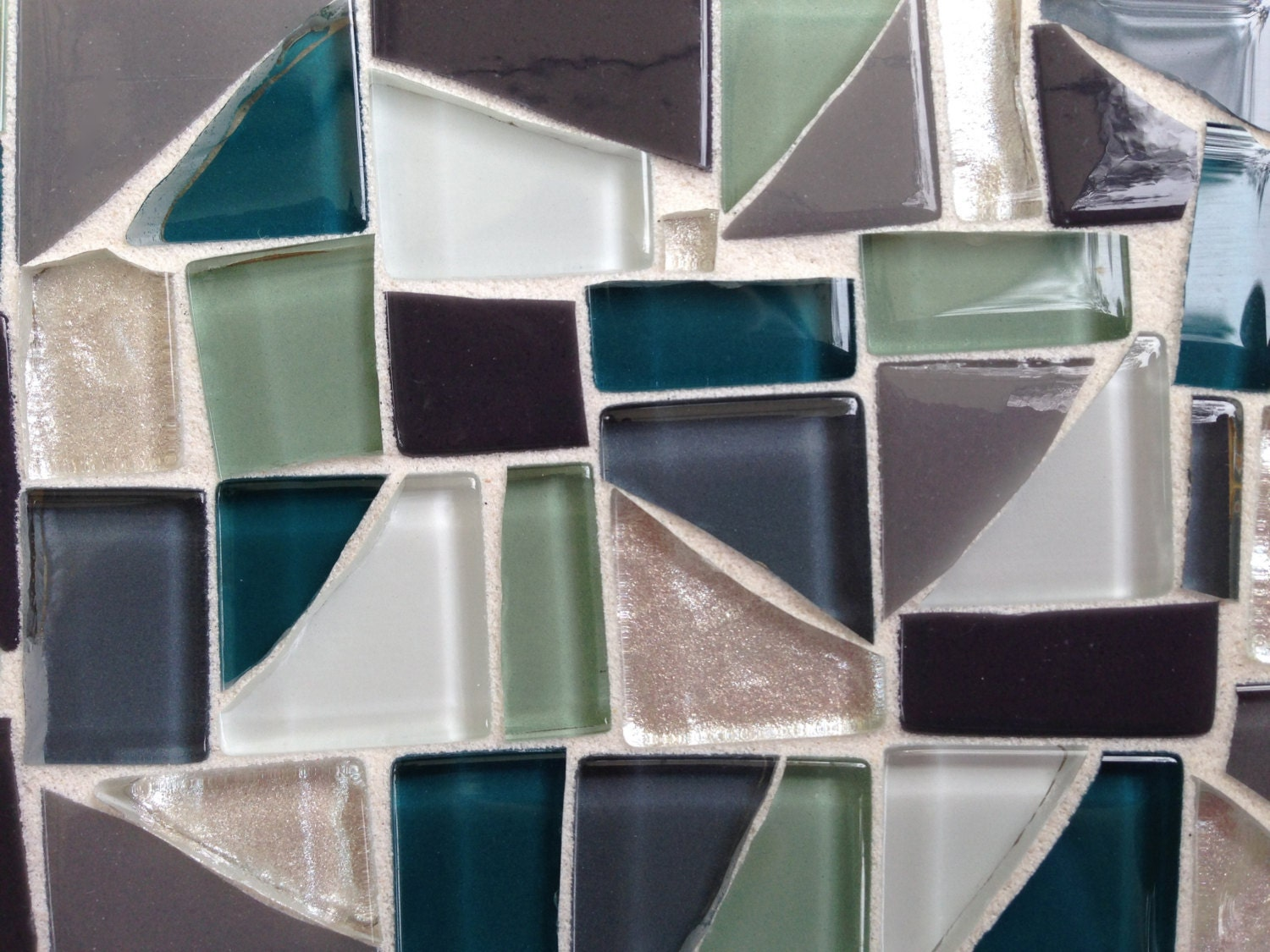 Mosaic mirror frame gray white green teal home decor for Teal framed mirror