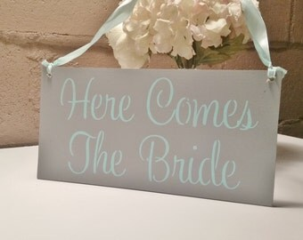 Mint Wedding Sign/HERE COMES the BRIDE sign/Gray and mint/light turquoise/aqua/custom colors