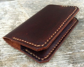Leather Wallet / Two pocket minimalist wallet / Brown leather / Mens Wallet / Made in the USA / Full Grain Leather