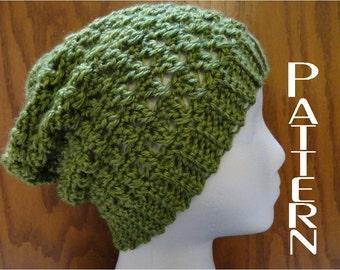 Crochet PATTERN  Crisscross Slouchy Beanie Hat Pattern Only