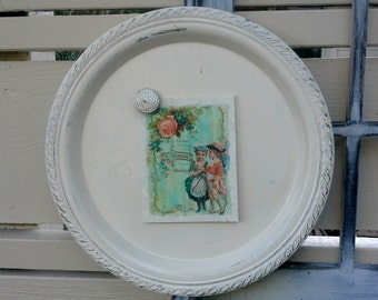 Vintage metal tray or plate magnet board, French cottage decor, painted, distressed in antique white, rope trim detailing, for holiday decor