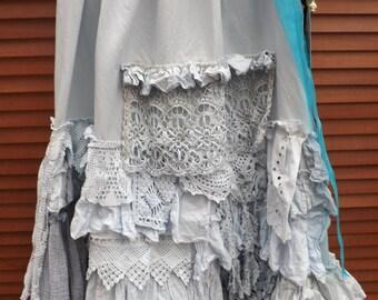 RITANOTIARA  southern gothic couture OSFA Blue Masie Gypsy Prairie boho lagenlook long maxi skirt vintage crochet lace cotton linen mori