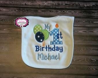 Candle Bib, Balloon Bib, Cake smash, birthday bib, First birthday, first birthday bib, Birthday Gift