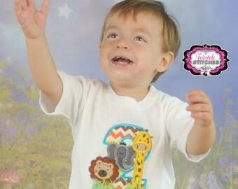 Jungle Shirt, Safari Shirt, Second Birthday, zoo birthday, elephant birthday, lion birthday, birthday shirt, boy birthday shirt