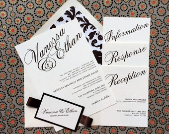 Formal Script Wedding Invitation - Modern, Elegant, Chic, Script - Wedding Invitation SAMPLE