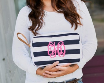 Monogrammed Navy and White Stripe Accessory Bag, Bridesmaid gifts
