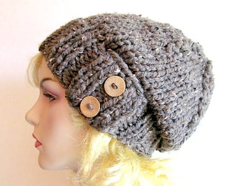 SALE - Slouchy Beanie Slouch Wool Hats Oversized Baggy Beret Two Buttons womens fall winter accessory Taupe Grey Super Chunky Hand Made Knit