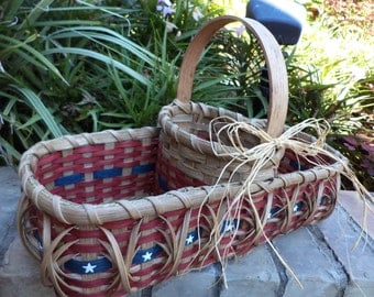 Americana Divided Basket Old Glory Stars and Stripes Patriotic Basket 4th of July Handwoven Basket