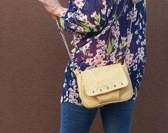 Cream Beige Leather Bag, Trendy Women Bags, Everyday Purse, Fashion Handbag, Suri