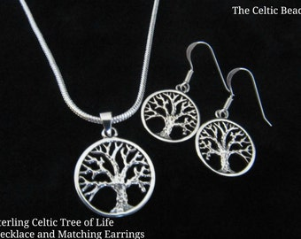 Sterling Silver Celtic Tree of Life Necklace and Matching Earrings