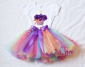 PARTY GIRL Birthday Girl Set - 3D Cupcake Onesie and Tutu Skirt and Matching Flower Headband- 1st 2nd 3rd 4th 5th Birthday