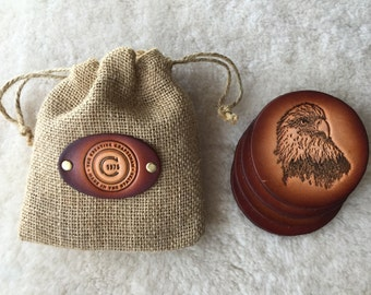 Leather Eagle Coaster set of 4 with Gift Bag