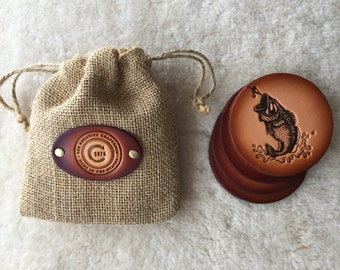 Leather Bass Coaster set of 4 with Gift Bag