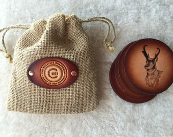 Leather Antelope Coaster set of 4 with Gift Bag
