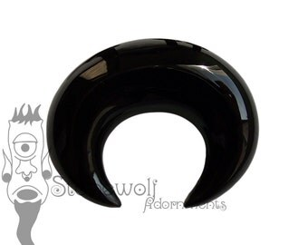 Black Obsidian 10mm Septum Pincher Handmade Stretched Septum - Ready To Ship