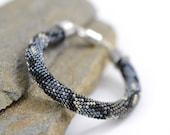 Python Beaded Bracelet Bead Crochet Bracelet  Snake Bracelet  Beadwork Handmade Jewelry Modern Black Hematite Grey Halloween Goth Unisex