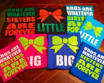 Cheer Big Sister & Little Sister Shirts with Cheer Bow