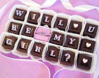 Will You Be My Girlfriend Chocolates and Gemstone Ring - Unique Chocolate Girlfriend Gift