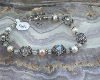 Crystals and Pearls  Antique Silver Metal Bracelet