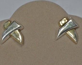 Vintage Gold on Silver Tribal Motif Earrings Pierce Style