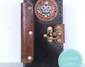Customized For mariehussey84 - Handmade Leather Unique Owl Steampunk Samsung Galaxy S6 Mobile Cell Phone Case Cover / Book Style