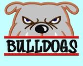 Split Bulldog Applique Embroidery Design INSTANT DOWNLOAD  4 sizes