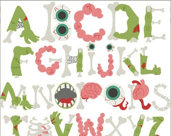 Zombie Alphabet Clipart -Personal and Limited Commercial Use- zombies letters Clip art