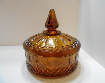 Vintage Amber Indiana Glass Candy Dish