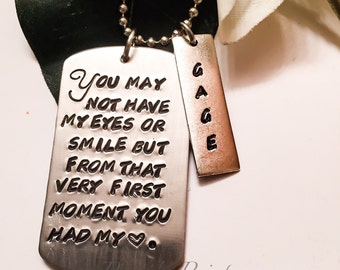 Hand stamped personalized dog tag, adoption, wedding, stepdaughter, stepson