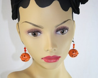 Halloween Pumpkin Jack O Lantern Earrings Jingle Bell Pumpkin Halloween Earrings Party