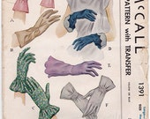 1940's SET of 6 Styles of Ladies Fabric GLOVES Vintage Sewing Pattern McCall 1391 -Womans Loose Fitting - Size LARGE Sew
