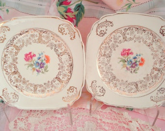Vintage Wedding Dessert Plates Harker Pottery Square Bread Butter Plates Floral Shabby Chic Set of 3 Vintage Bridal Shower