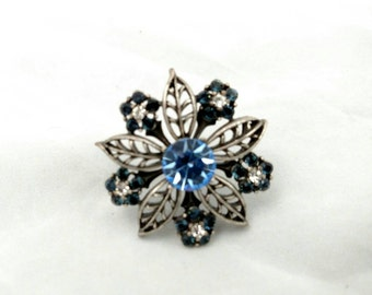 Hobe Blue Rhinestone Pin, Absolutely Gorgeous