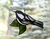 Chickadee Stained Glass Bird, Bird Suncatcher, Bird Sun Catcher, Glass Art