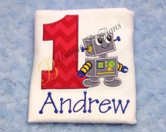 Robot Birthday Number Shirt, Boys Birthday Shirt, Robot Shirt, Boy Tops