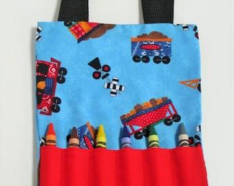 Blue train mini crayon bag party favor bag activity bag