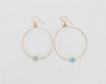 14K Gold Filled, Amazonite Hoop Earrings