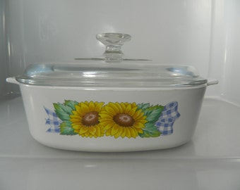 Vintage Casserole Dish Corning Ware Country Sunflower Corning Ware Dish