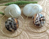 "Bohemian/Tribal Earrings, ""Catrine"" Handcrafted, Buli Shell, Brass & Sterling, Boho-Chick"