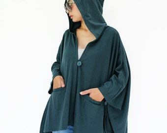 NO.163 Deep Teal Cotton-Blend Jersey Cover Me Hoodie Poncho