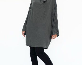 NO.188 Gray Rayon Classic Batwing Long Sleeve Tunic, Slouchy Fold-Over Neck Top, Women's Tunic