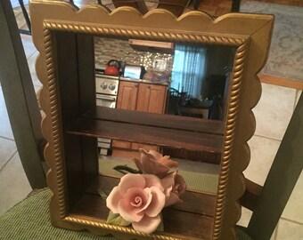 Small wood curio mirrored box or shelf/shadowbox