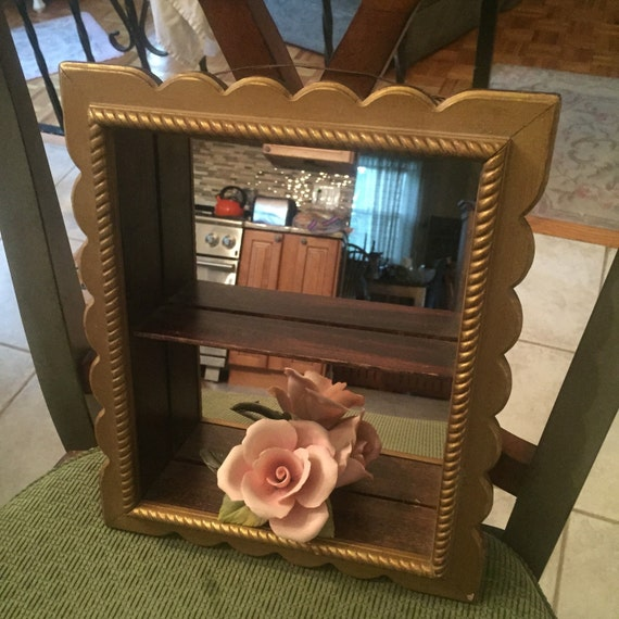 Small Wood Curio Mirrored Box Or Shelf Shadowbox