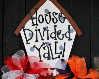 House Divided Door Hanger: Wooden Football Door Decoration, House Divided Wreath