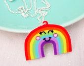 Kawaii Rainbow Acrylic Necklace - Funky Jewelry