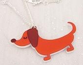 Dachshund Sausage Dog Acrylic Necklace