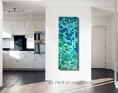 Watercolor seascape painting/ Abstract minimalist wall art/ 48-inch x 16-inch painting /Sea Green, Deep green/  Oversized Ready Now Wall art