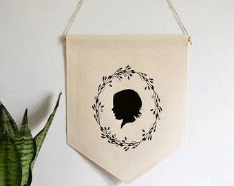 Handmade Custom Silhouette Hanging Wall Banner - A Family Print Shop Silhouette Banner - Handmade Silhouette Wall Decor